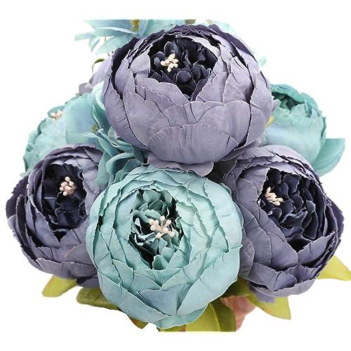 Buy Duovlo Fake Flowers Vintage Artificial Peony Silk Flowers Wedding Home Decoration Pack Of 1 New Grey Blue Online In Ecuador B01ke5m382